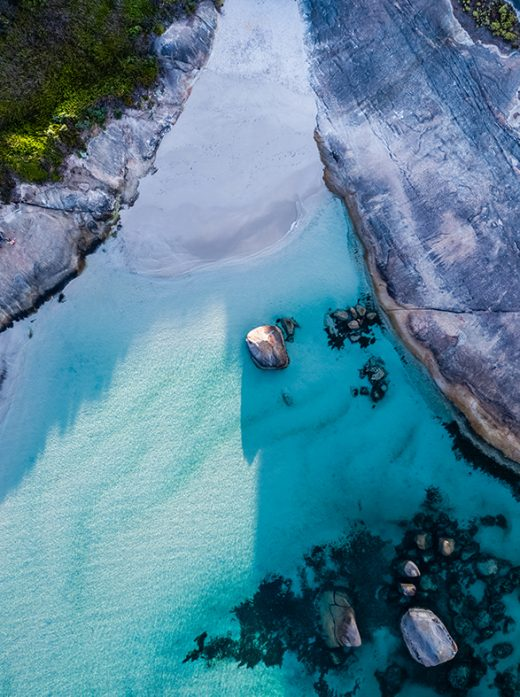 Greens Pool Sunrise, Denmark, Western Australia, Drone From Miles Away