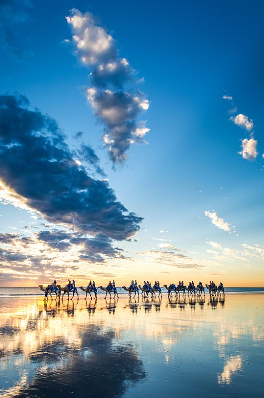 Cable Beach Camels, Broome, Western Australia, Sunset, From Miles Away