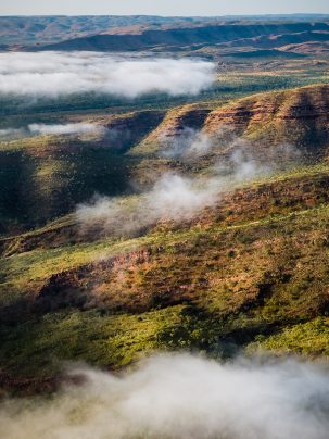 Deception Range, Kununurra, Western Australia, Foggy Sunrise, Aerial, Drone, Print, From Miles Away