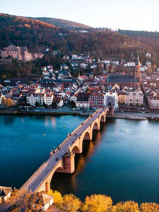 Heidelberg Bridge at sunset looking back over the old town