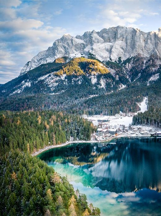 An aerial image take abouve the forest at Lake Eibsee in Bavaria, Germany