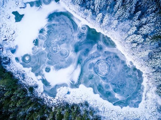 An aerial image take above the frozen Lake Eibsee in Bavaria, Germany
