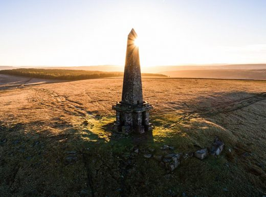 An aerial image taken above the Stoodley Pike monument in Todmorden, West Yorkshire