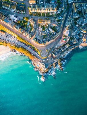 An aerial image taken above St Ives in Cornwall at sunrise