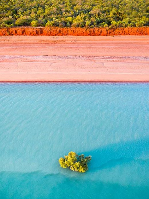 an aerial drone photograph taken at sunset in roebuck bay broome western asutralia