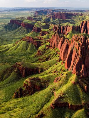 The ragged range of the east kimberley in western australia taken using a drone at sunset