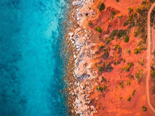 A drone photograph of Gantheaume Point at Sunrise in Broome Western Australia