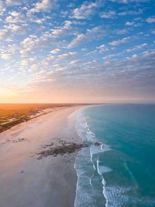 Sunrise at Cable Beach in broome Western Australia from a drone
