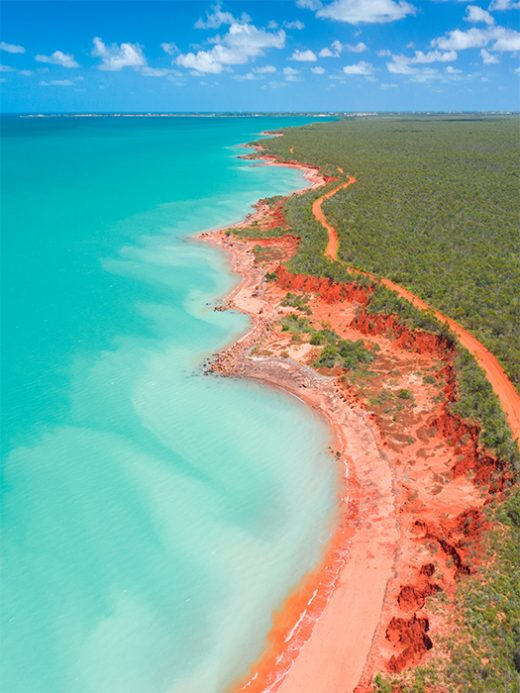 drone photo of roebuck bay in broome